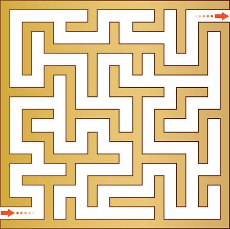 hint: Gold maze. Vector illustration.