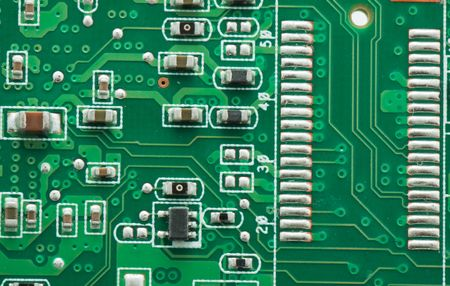 Green circuit board with components Stock Photo - 5995523