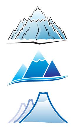 mineralien: Satz von Berg-Symbole Illustration