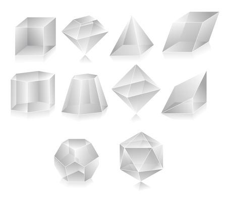 Blank translucent 3d shapes design illustration Vector