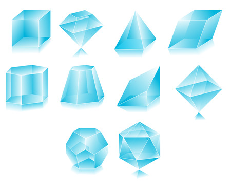 Blank translucent 3d shapes design illustration Vector