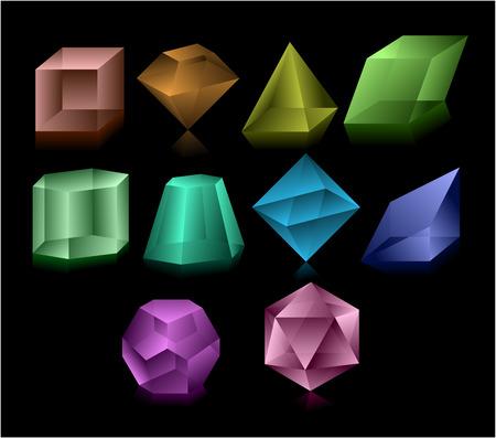 octahedron: Different color glass figures