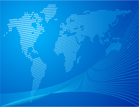 Blue background with world map Stock Vector - 6372345