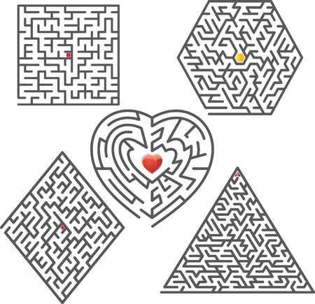 lost love: Collection of vector mazes. Illustration