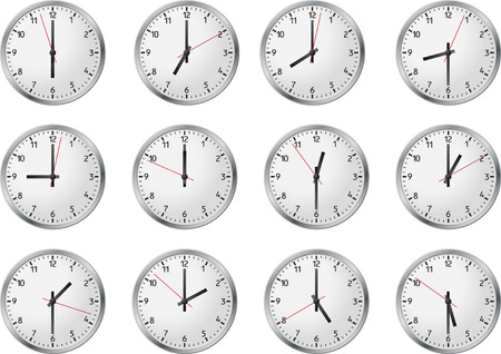 Set of clock whith business time Vector