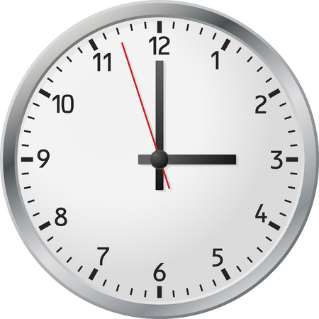 White wall clock.  Vector illustration. Vector