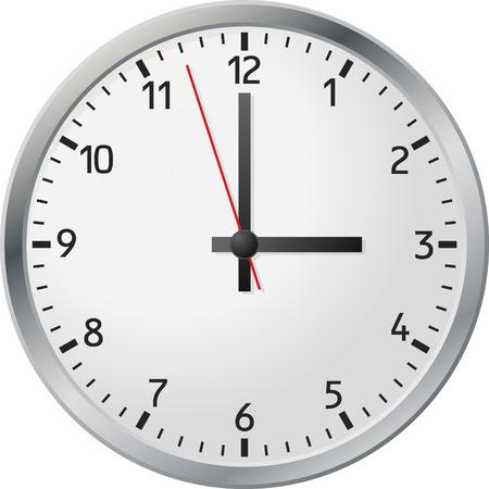 Zegar białej ścianie. Ilustracji wektorowych.  Ilustracje wektorowe