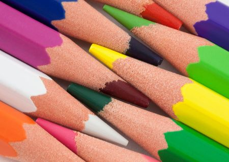ordered: Color pencils ordered in row