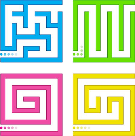 turn yellow: Set of small colored mazes.