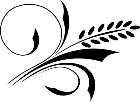 wheat isolated: Monochrome floral ornament. Vector illustration. Illustration