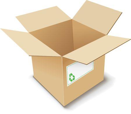 verhuis dozen: Kartonnen doos. illustratie.