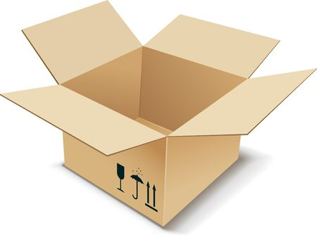 moving crate: Cardboard Box. illustration. Illustration
