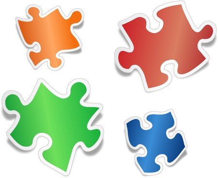 jig saw: Shiny jig saw puzzle pieces Illustration