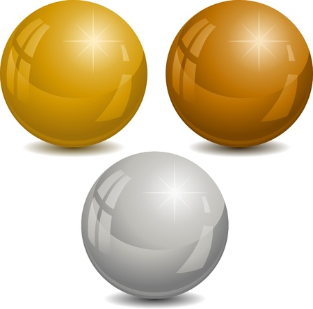 gold silver bronze: Vector illustration of metalic spheres.