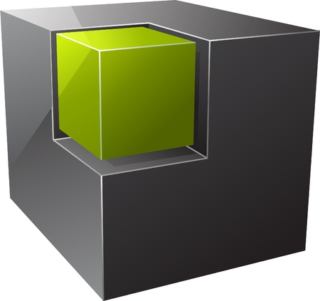 difference: Black cube. Vector illustration