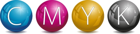 spherule: Vector CMYK pearls. Illustration