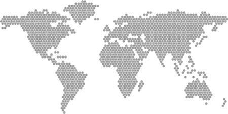 world  hexagon: Vector world map