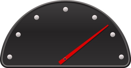 Black speedometer with red arrow.