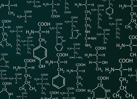 Chemistri formulas on green background Illustration