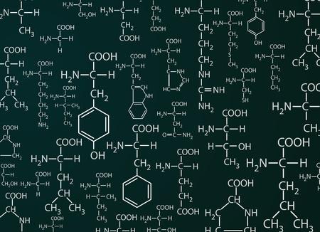 Chemistri formules sur fond vert