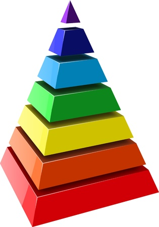 triangle objects: Layered pyramids. Vector.