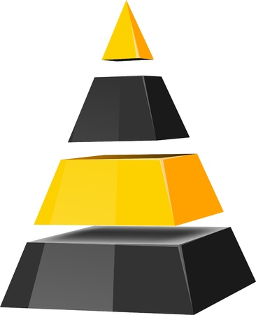 Pirámides en capas. Vector.