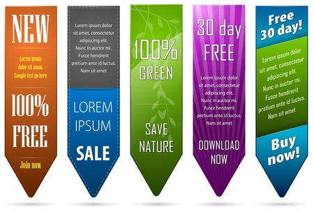 banner ads: A set of five banners for web Illustration