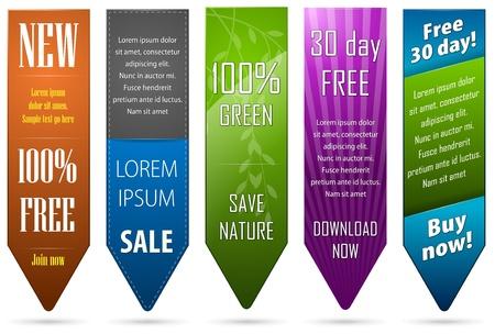 Un insieme di cinque banner per il web
