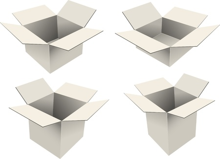 Set of four cardboard boxes Vector