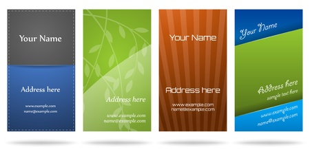 business name: Set of four vertical business cards