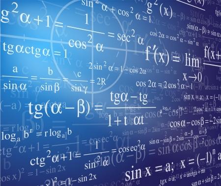 Fondo de matemáticas con fórmulas Ilustración de vector