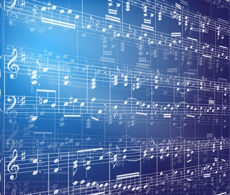 three dimensional background: Music background with notes
