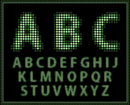 Halftone alphabet. Full set . Vector