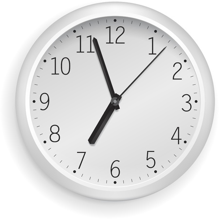 object with face: White vector clock.