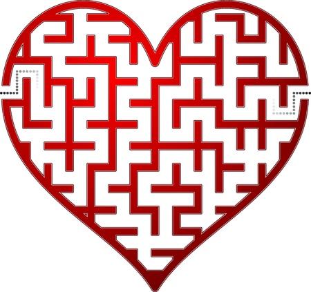 Heart maze. Vector illustration.