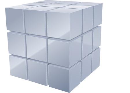 cubo: Illustrarion de cubos de metal 3d en plata Vectores
