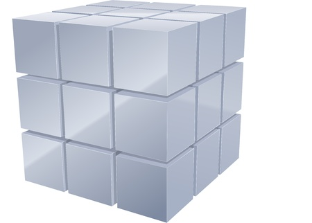 cube: Illustrarion of 3d metal cubes in silver Illustration