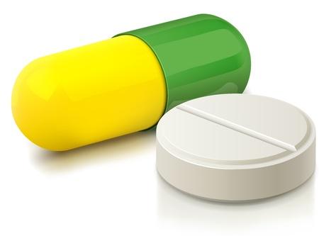 передозировка: Капсула и белые таблетки иллюстрации