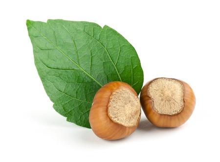 Hazelnuts Composition isolated on white background photo