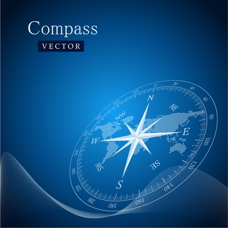 maritime: Black compass vector illustration