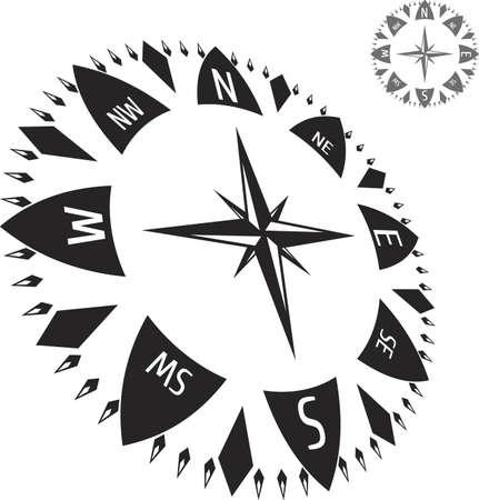 orienteering: Black illustration of compass Illustration