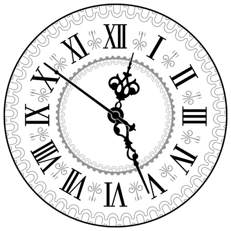 object with face: Antique clock  Vector illustration