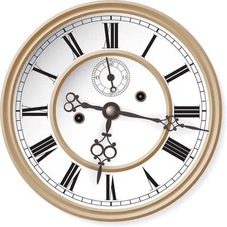 round face: Antique clock  Vector illustration