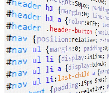 programming code: CSS and HTML code