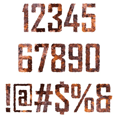 rusted: Rusted digits and symbols