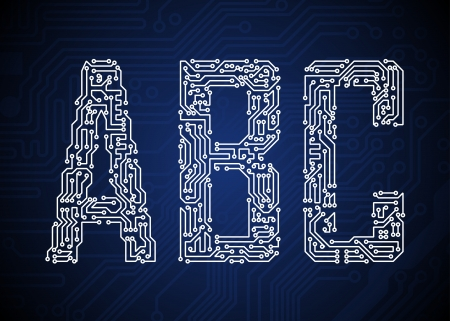 bytes: Set of Circuit board style letters