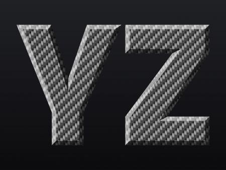 structure metal: Carbon fiber capital letters  Vector illustration