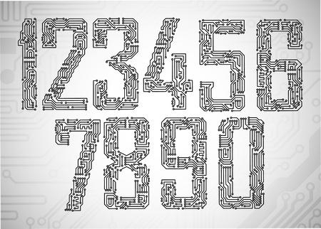 回路基板スタイル文字のセット  イラスト・ベクター素材