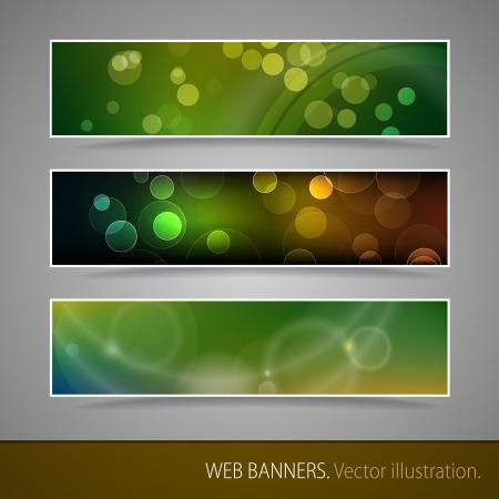 ボケ味のベクトル イラストと抽象的なバナー
