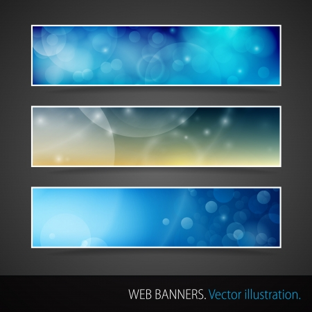website header: Abstract Banner With Bokeh  Vector Illustration